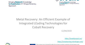 Metal Recovery: An Efficient Example of Integrated Leading Technologies for Cobalt Recovery
